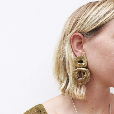 Leigh Miller Double Whirlpool Earrings in Brass
