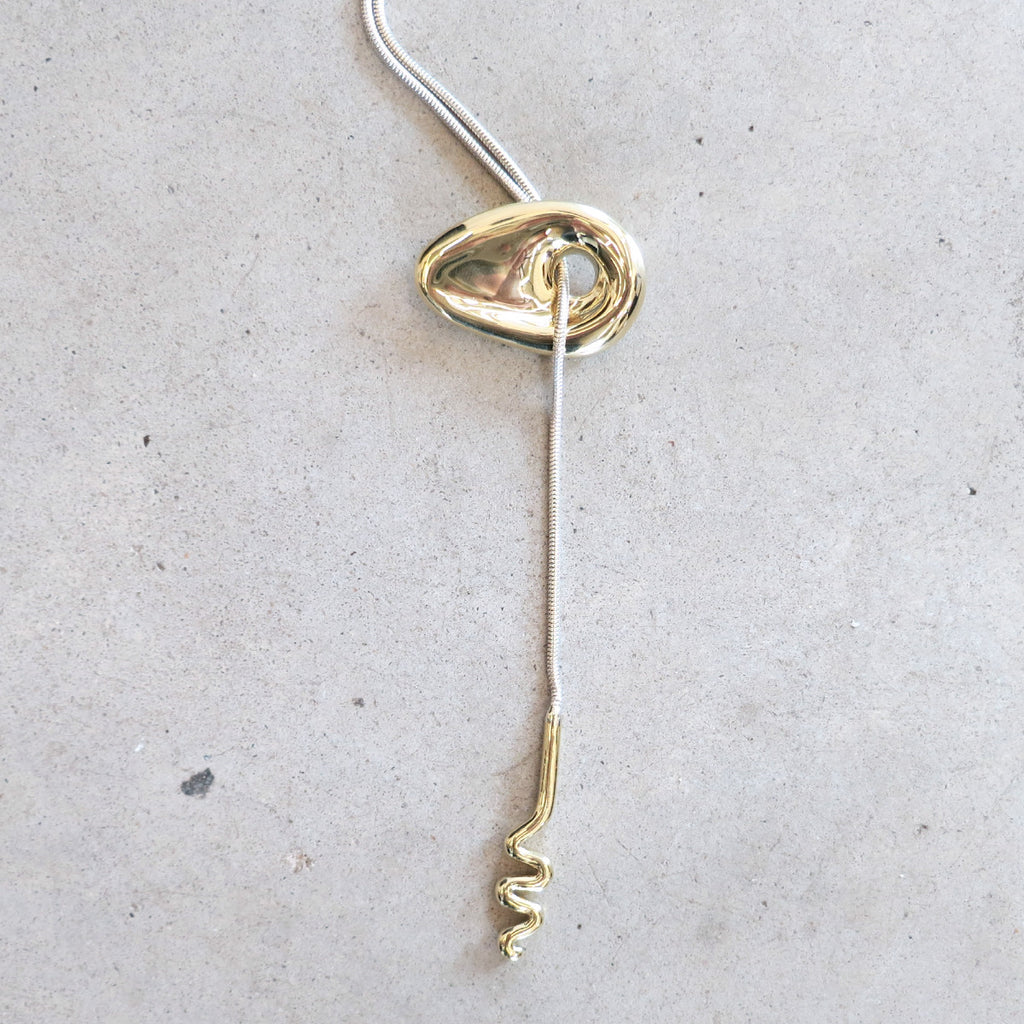 Leigh Miller Squiggle Lariat Necklace in Silver + Brass