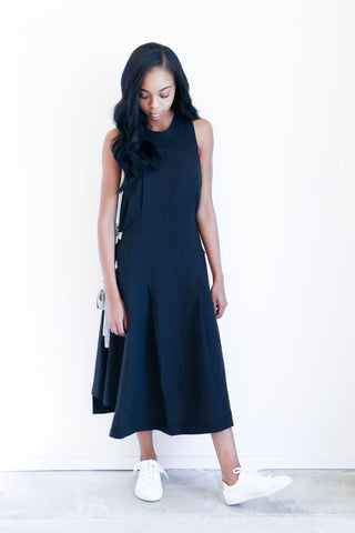 Luisa et la Luna Bara Dress in Black Linen