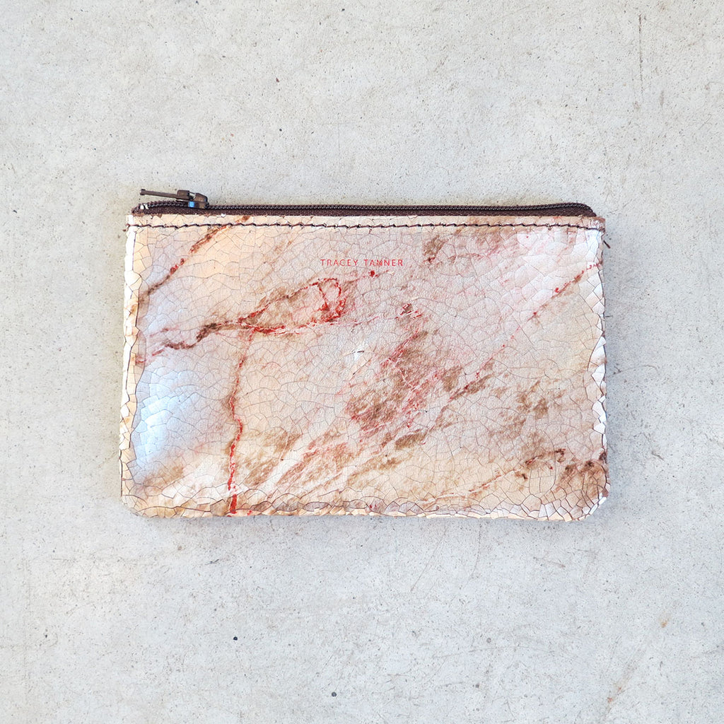 Tracey Tanner Small Flat Zip Pouch in Warm Marble