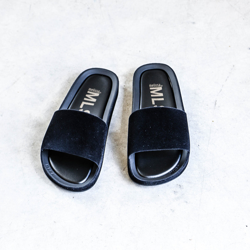 Melissa Beach Slide III in Black Flocked