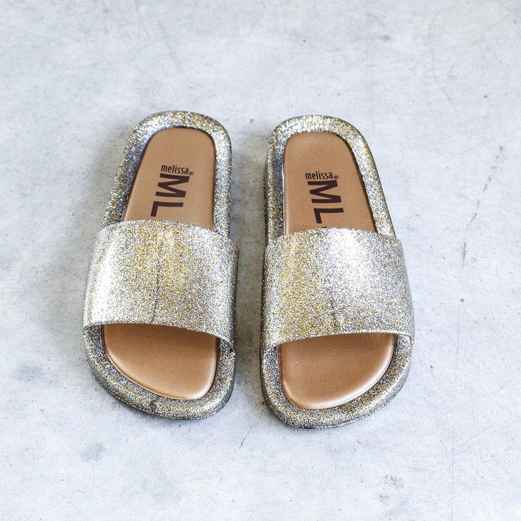 Melissa Beach Slide in Gold Glitter