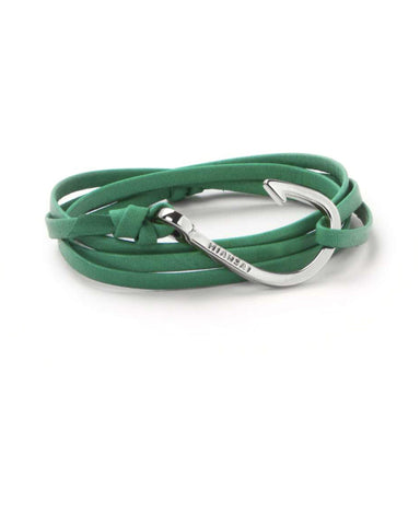 Miansai Silver Fish Hook And Kelly Green Leather Wrap Bracelet