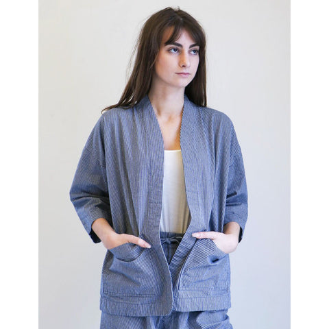Micaela Greg Sac Jacket in Blue Mini Check