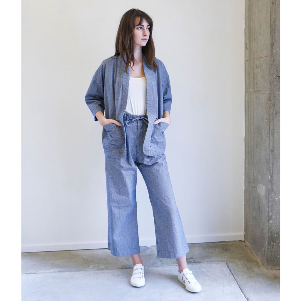 Micaela Greg Tie Wide Pant in Blue Mini Check