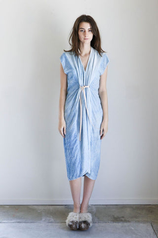 Miranda Bennett Knot Dress in Light Indigo Velvet