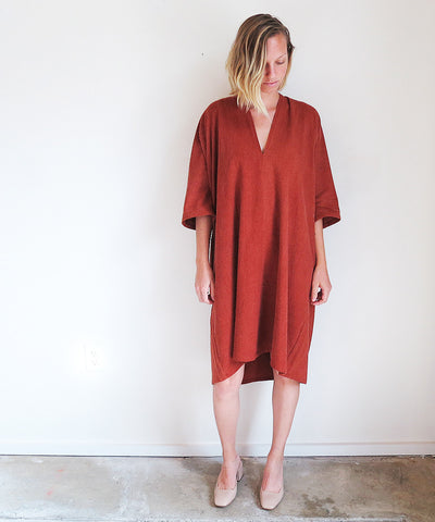 Miranda Bennett Muse Dress in Terracotta Silk Noil