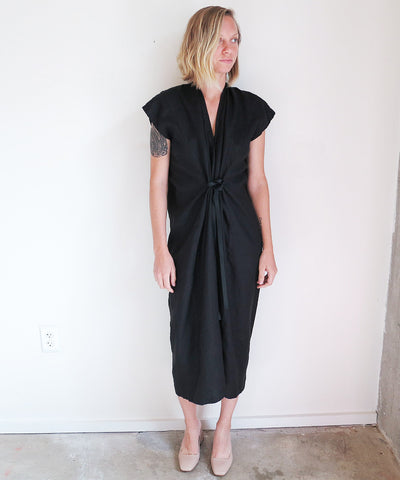 Miranda Bennett Knot Dress in Black Linen