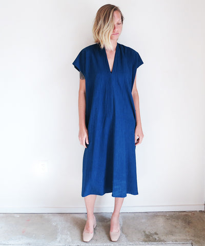 Miranda Bennett Oversized Everyday Dress in Dark Indigo Cotton