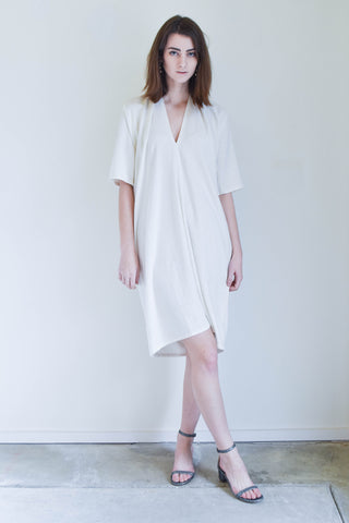 Miranda Bennet Muse Dress In Natural Silk Noil