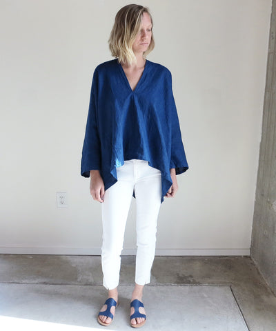 Miranda Bennett Muse Top In Dark Indigo Linen