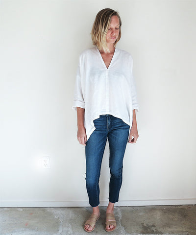 Miranda Bennett Muse Top In White Linen