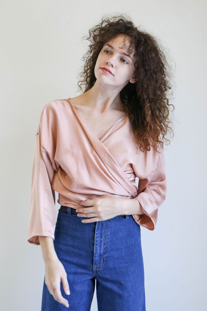 Miranda Bennett Wrap Top In Bardot Silk Charmeuse