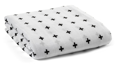 Modern Burlap Organic Swaddle Blanket in Swiss Cross