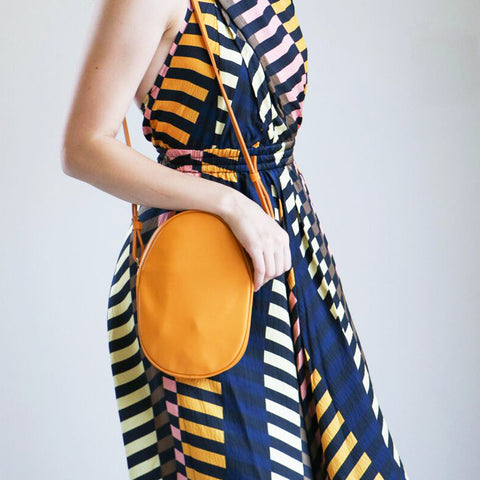 Modern Weaving Mini Oval Crossbody in Saffron