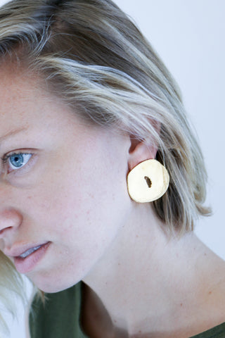 Modern Weaving Mis Shaped Donut Studs in Brass