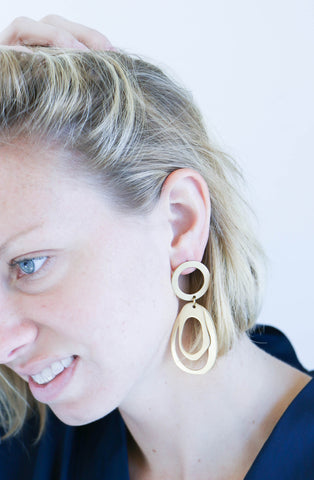Modern Weaving Oval Hoop Stack Earrings in Brass