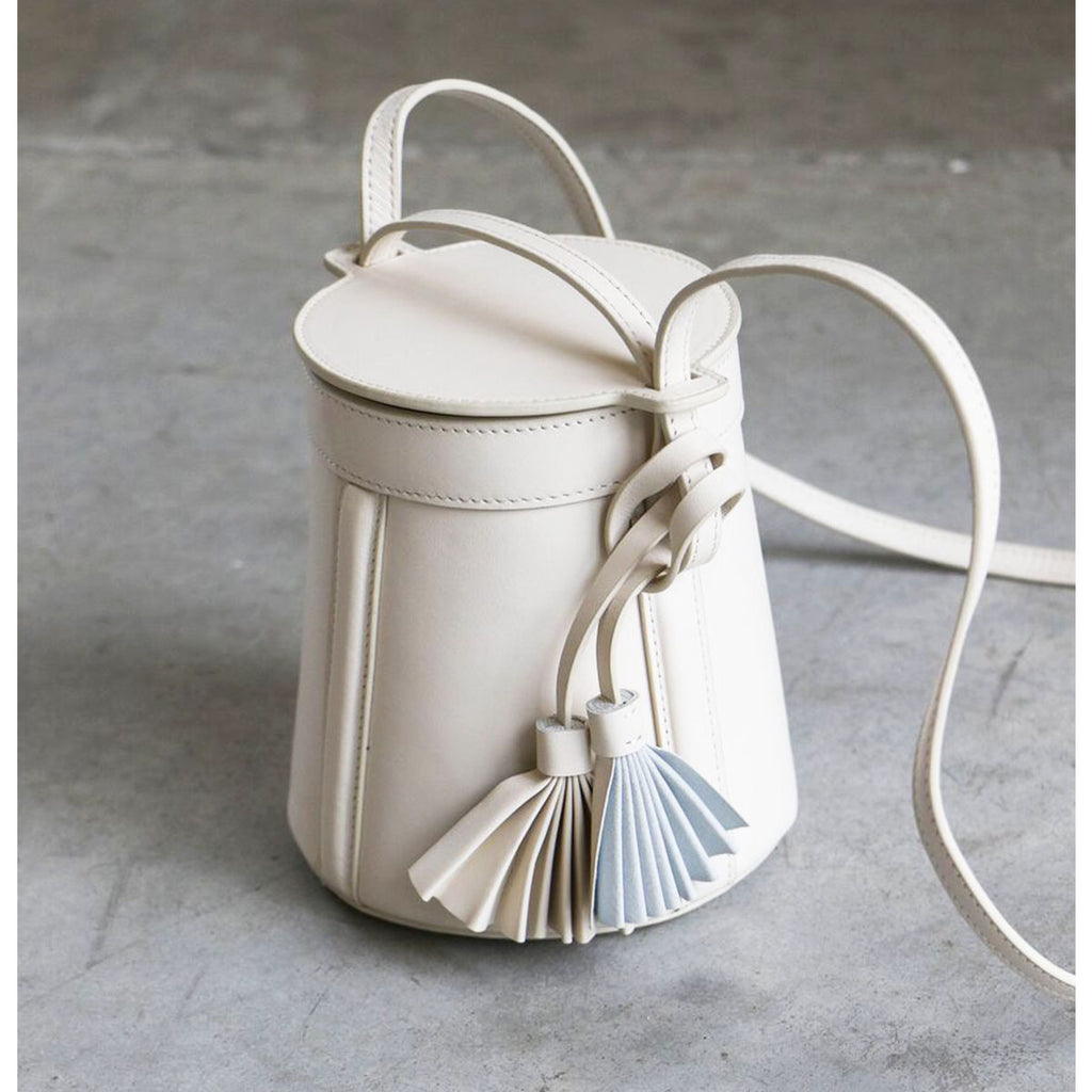Modern Weaving Petite A-Line Bucket with Fan Tassel in Creme