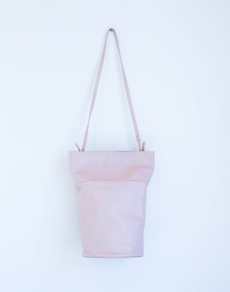 Modern Weaving Tall Snap Bucket Bag in Soft Pink