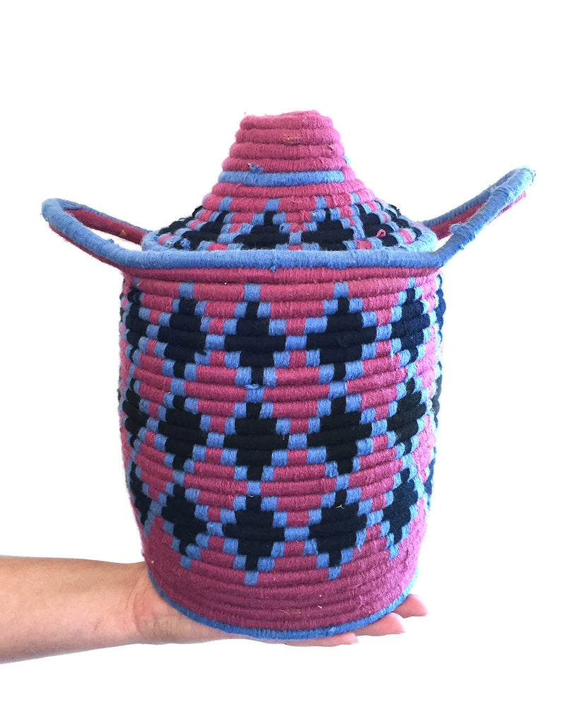 Moroccan Bread Basket in Pink and Blue