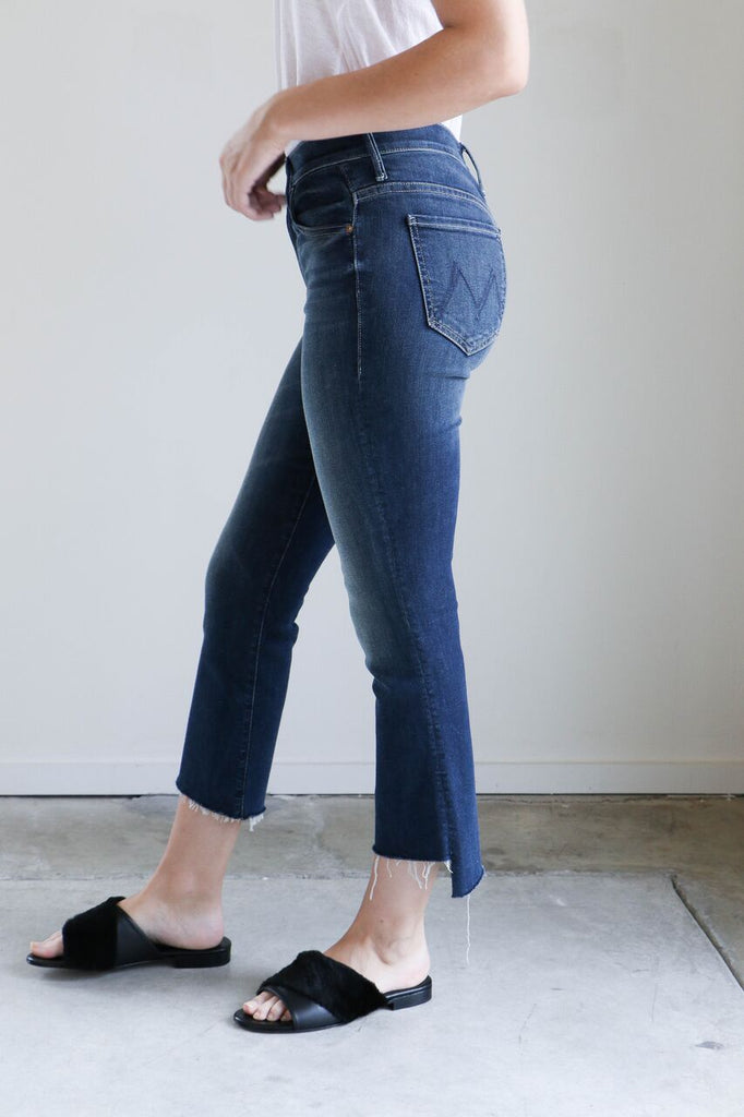 Mother Denim Insider Crop Step Fray in Here Kitty Kitty
