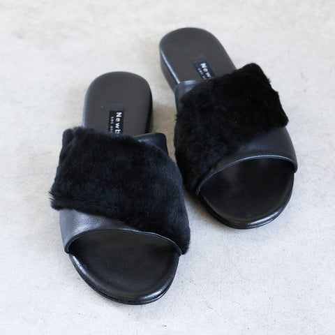 Newbark Yasmin Slide in Black Shearling