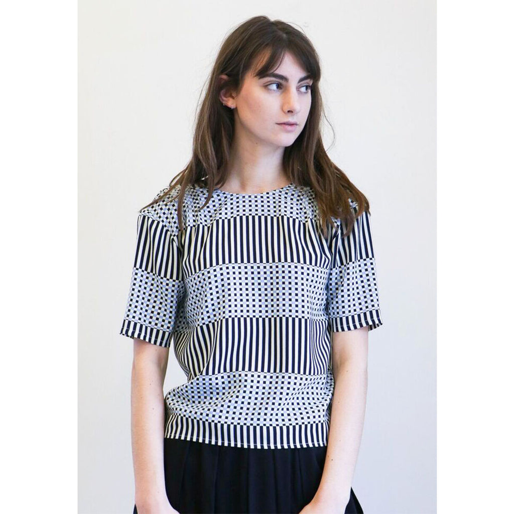 No. 6 Isla Pleated Top in Blue & Black Checks and Balances
