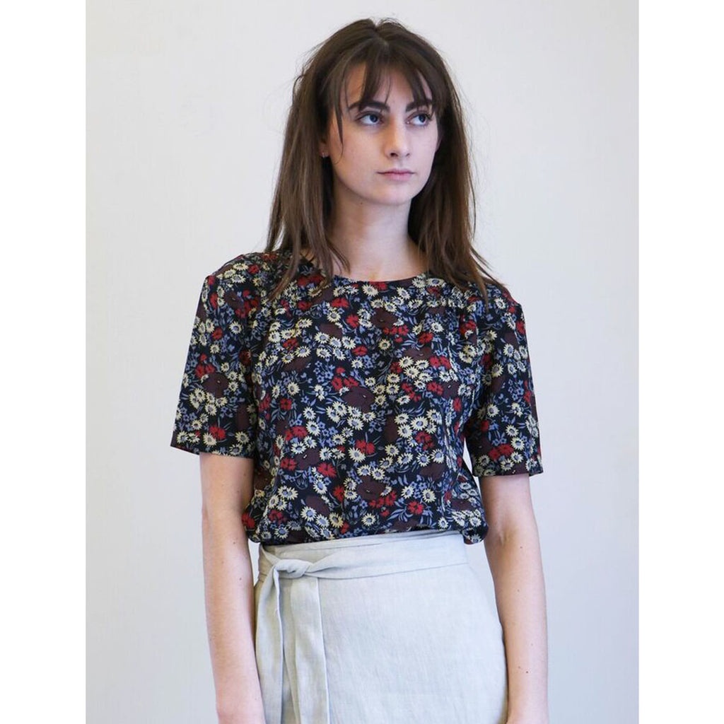No. 6 Isla Pleated Top in Large Cherry London Floral
