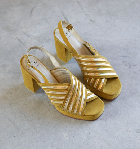 No. 6 Lola High Heel in Acid Gold