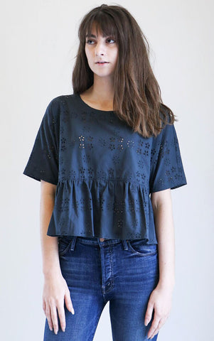 Creatures of Comfort Ony Eyelet Top in Black