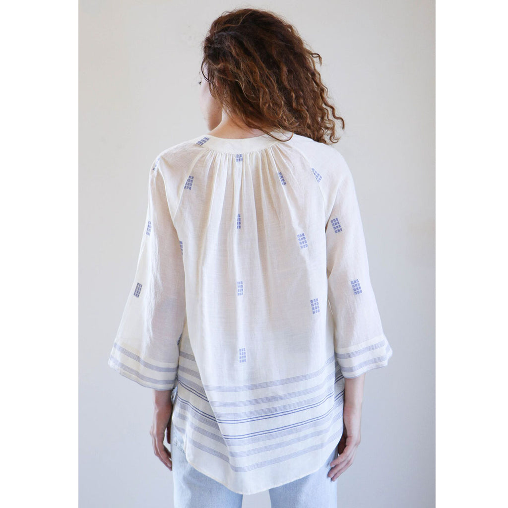 Mirth Caftans Palm Springs Top in Ivory & Blue