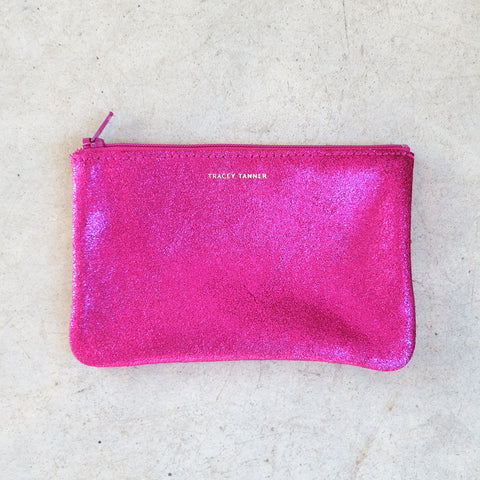 Tracey Tanner Small Flat Zip Pouch in Cotton Candy Sparkle