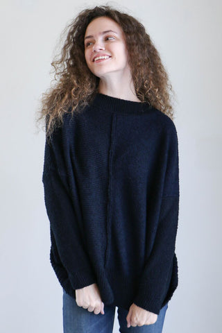 Pas de Calais Knit Pullover Sweater in Black + Navy