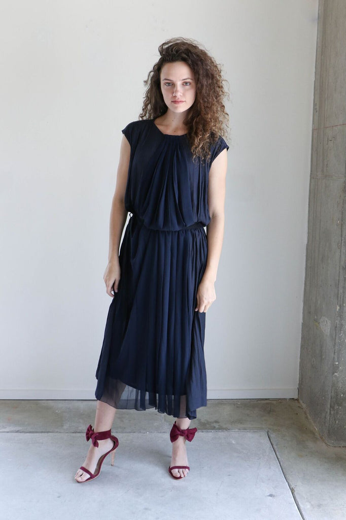 Pas de Calais Navy Pleated Dress