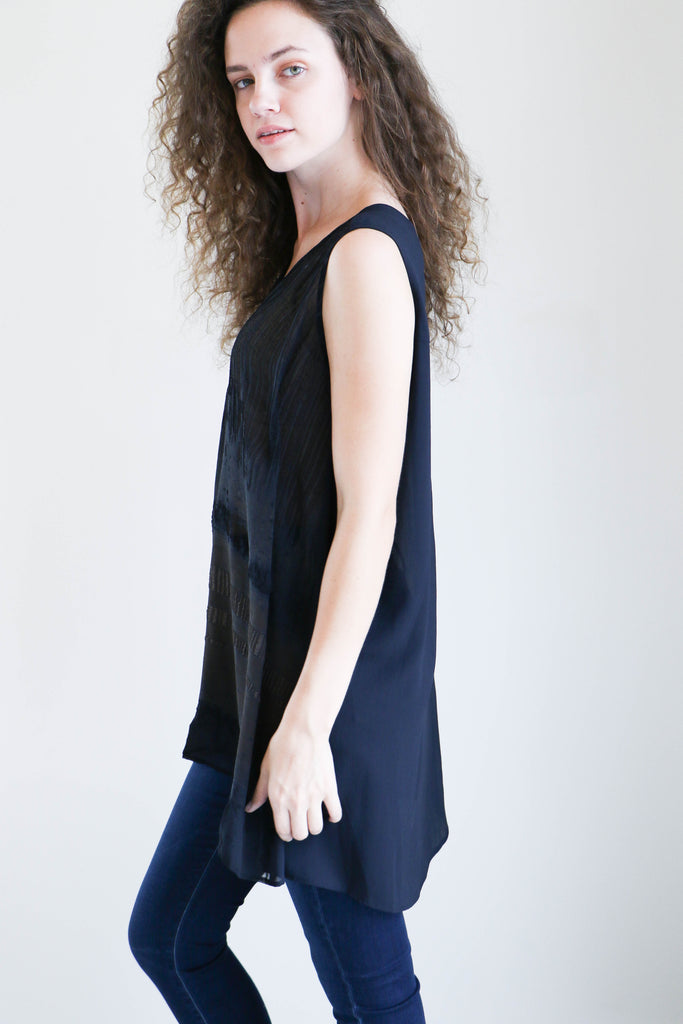 Pas de Calais Puckered Chiffon Tunic in Navy + Brown