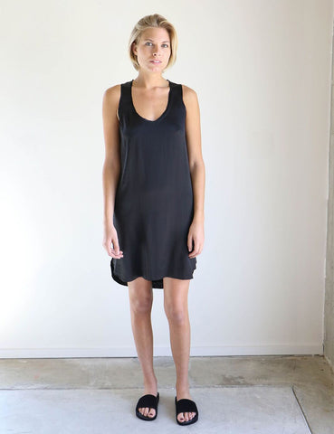 Pharaoh Rib Back Tank Dress in Black