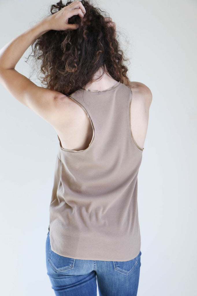 Pharaoh Rib Back Tank in Toffee