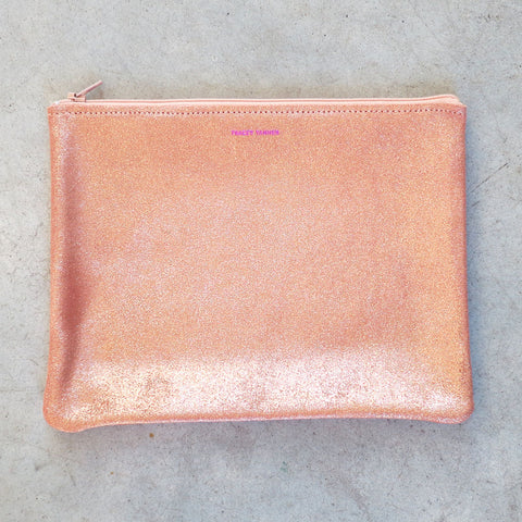 Tracey Tanner Large Flat Zip Pouch in Rose Gold Sparkle