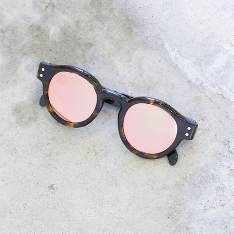 RetroSuperFuture Eddie Havana Round Sunglasses with Peach Mirrored Lenses