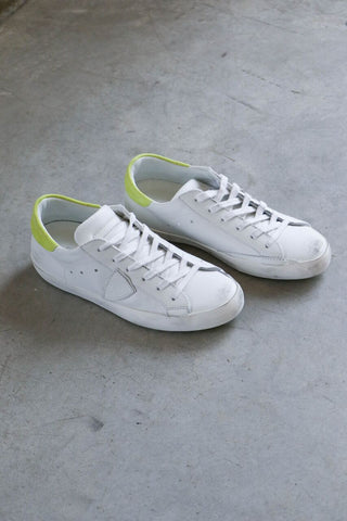 Philippe Model Paris Sneakers in White + Yellow
