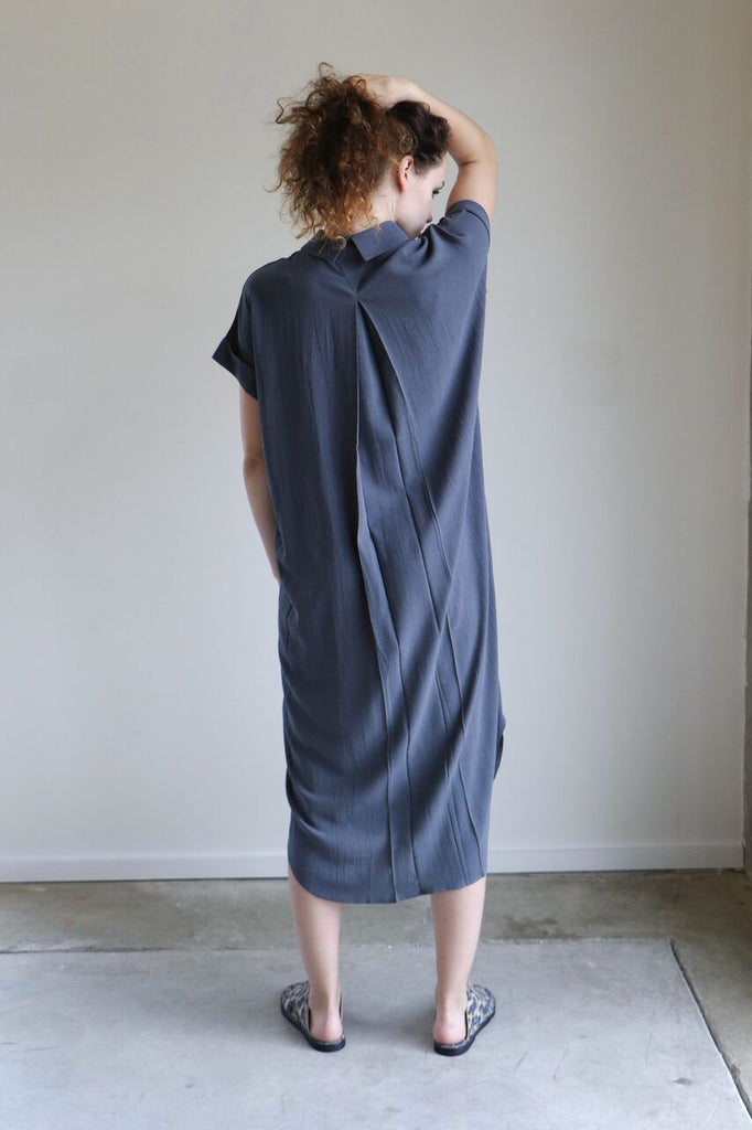 7115 By Szeki Button Down Shirtdress in Charcoal