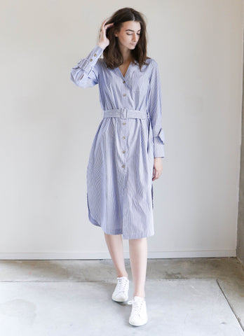 Sea NY Diagonal Placket Dress in Blue + White
