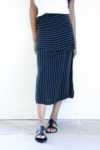 Shaina Mote Apron Skirt in Pearl Stripe