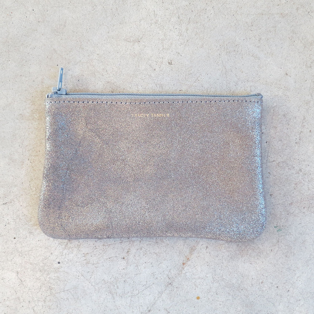 Tracey Tanner Small Flat Zip Pouch in Smoke Sparkle