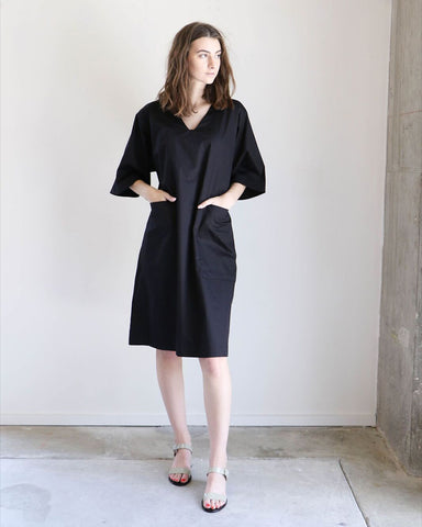 Sunja Link Patch Pocket Dress in Black Poplin