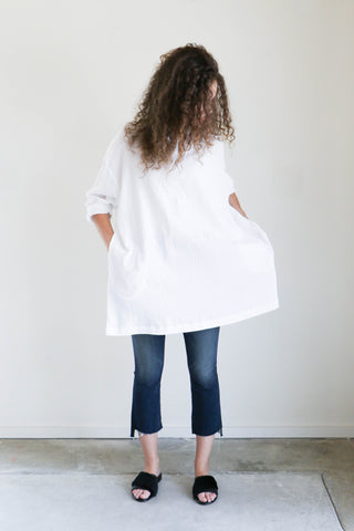 Sunja Link Tunic in White Crinkle Cotton
