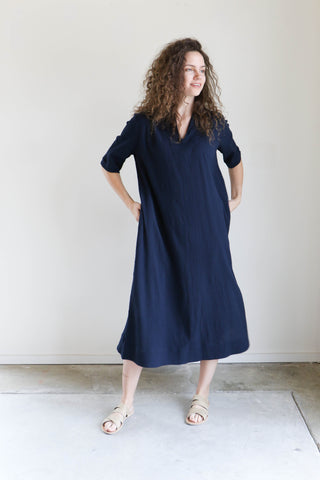Sunja Link Yoke Dress in Navy Crinkle Cotton