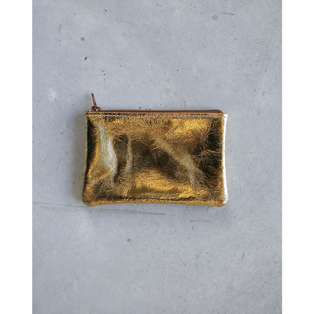 Tracey Tanner Small Flat Zip Gold Foil