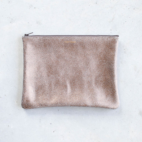 Tracey Tanner Large Flat Zip Pouch in Bronze Gold