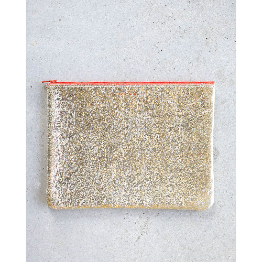Tracey Tanner Large Flat Zip Pouch in Blonde Gold Persimmon